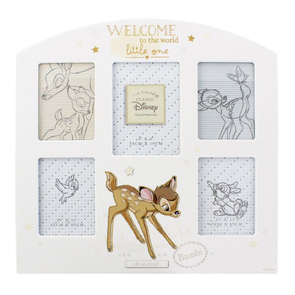 Disney Bambi New Baby Photo Frame Gift 'Welcome To The World' Collage Multi Aperture Picture Frame
